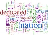 A word cloud based on political writings of the 19th century poster