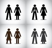 well dressed man woman or boy girl standing concept symbols set. different black colorful simple male and female standing icons (simple professional party and holiday) collection set poster