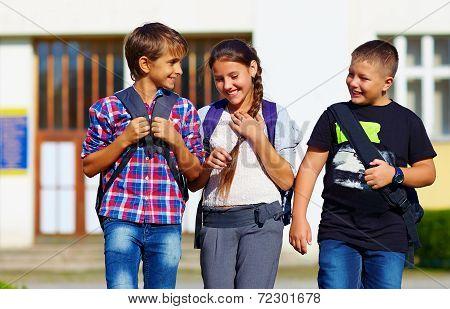 Schoolchildren, Friends Walking From School, Fellow Sympathy