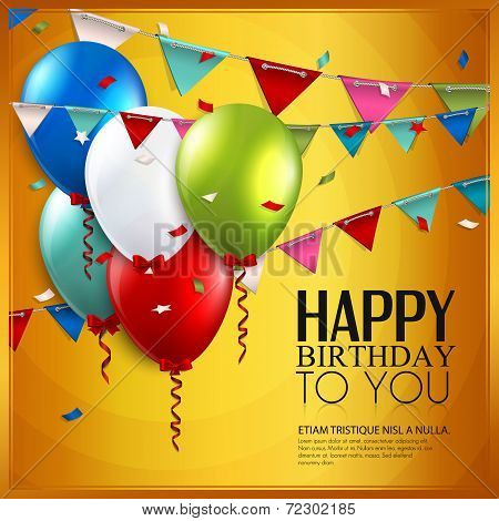Vector birthday card with balloons and bunting flags on yellow background.