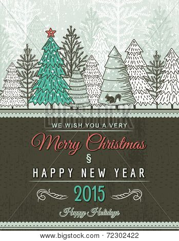 Beige Christmas  Card With Decorative Ornament, Vector Illustration