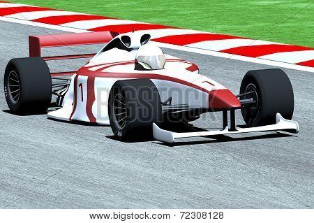 Formula 1 Indy Car on Race Track 3D artwork Illustration poster