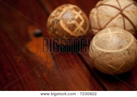 Wooden Table And Balls