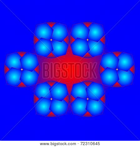 Color Abstract Composition On Red And Blue Background