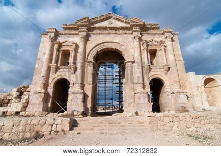 Arch of Hadrian in Ancient Jerash ruins(the Roman ancient city of Geraza) Jordan. poster