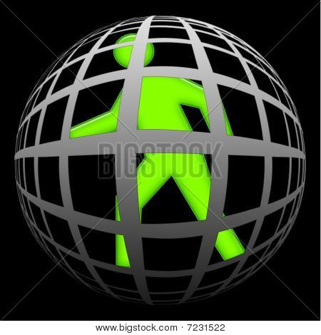 Green human symbol locked inside the spheric global cell, symbolic illustration to internet addiction or total control over black background poster