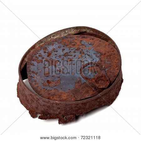Old Rusty Tincan Isolated On White Background
