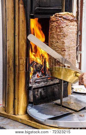 Cook Slices Shawarma