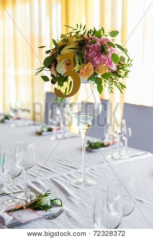 Floral Arrangement For Decoration Wedding Table For Guests. Room Table. Vintage