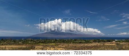 Panoramic view of Lahaina and the island of Lanai, Maui, Hawaii