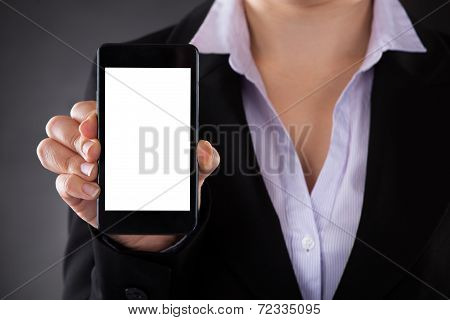 Businessperson Showing Mobile Phone