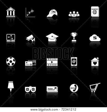 General Online Icons With Reflect On Black Background