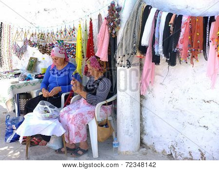 Village women selling their creation