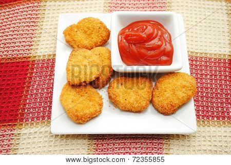 Catsup Served With Chicken Or Fish Nuggets