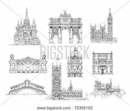 Famous buildings, Sketch collection