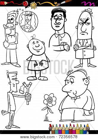 People Set Cartoon Coloring Page