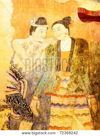 Whisper Of Ancient Painting Wall Art In Temple