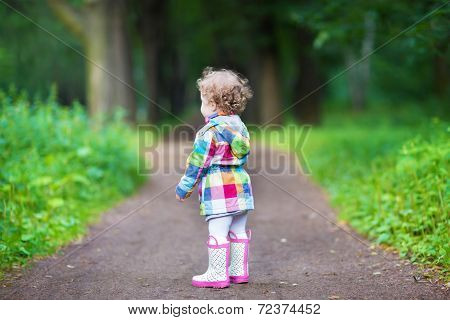 Cute Curly Baby Girl In A Park, View From Her Back
