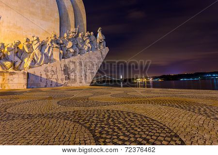 Padrao dos Descobrimentos (Monument to the Discoveries) Lisbon Portugal at night poster