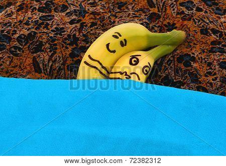 Bananas Hugging Each In Bed.