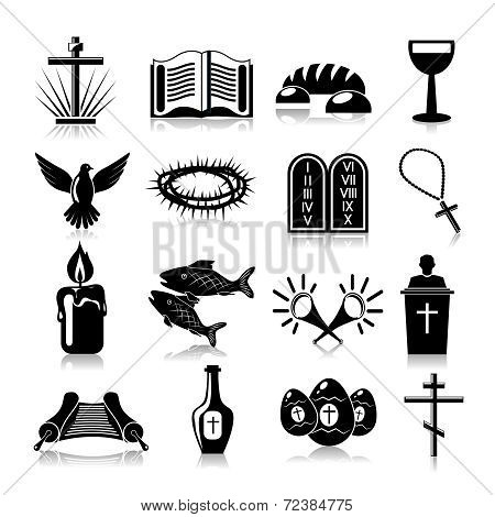 Christianity icons set black