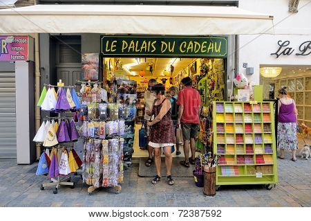 Souvenirs And Gadgets In Aigues-mortes Street