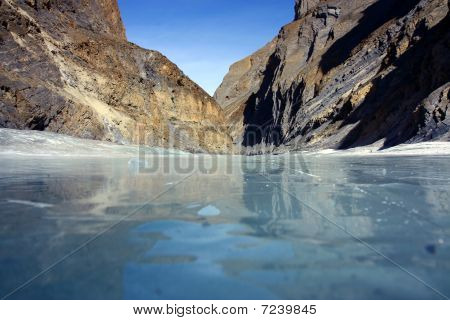 frozen Zanskar river on the Chadar track