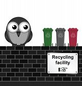 Monochrome comical recycling facility sign on brick wall isolated on white background poster