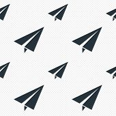 Paper Plane sign. Airplane symbol. Travel icon. Flight flat label. Seamless grid lines texture. Cells repeating pattern. White texture background. Vector poster