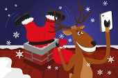 Funny christmas reindeer is doing selfie for social networks poster
