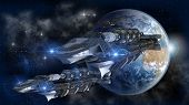 Spaceship fleet leaving Earth as a 3D concept for futuristic interstellar deep space travel for sci-fi backgrounds poster