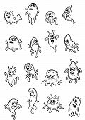Halloween ghosts, evils and monsters in outline style for scary, fear or another danger concept design poster