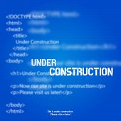 Blue Website Under Construction Design Template, Background poster