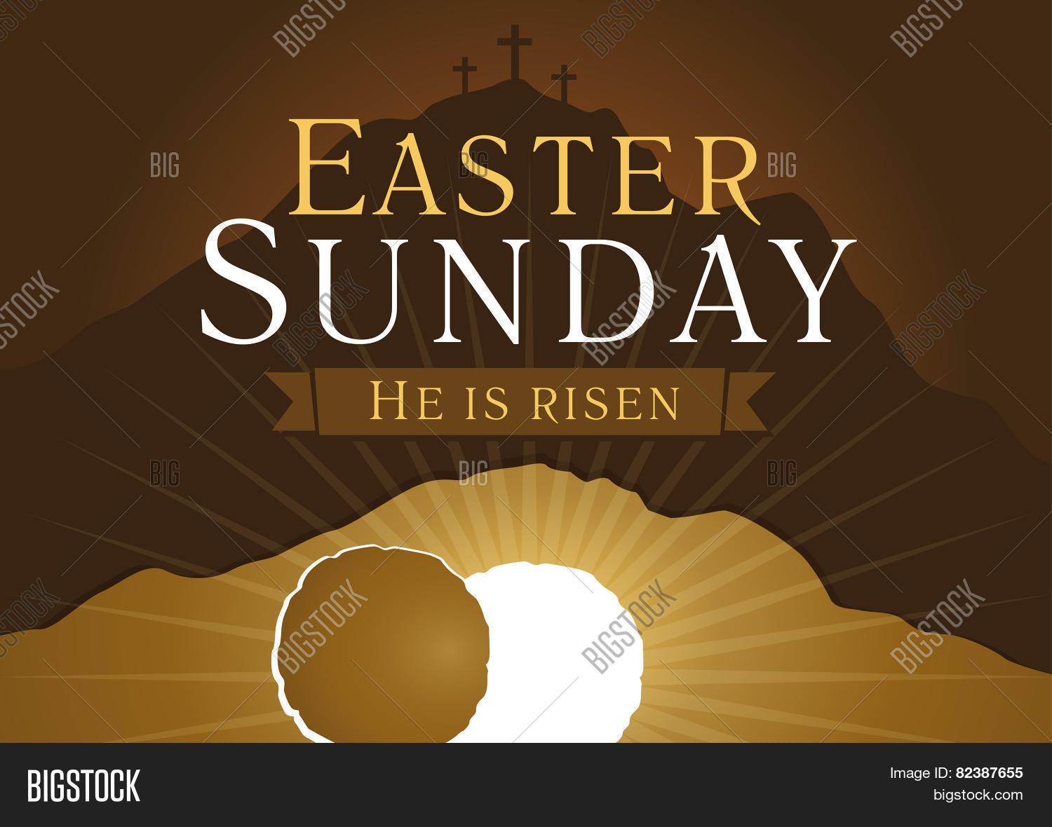 Easter sunday he vector photo free trial bigstock easter sunday he is risen greetings invite vector card calvary sunrise with m4hsunfo