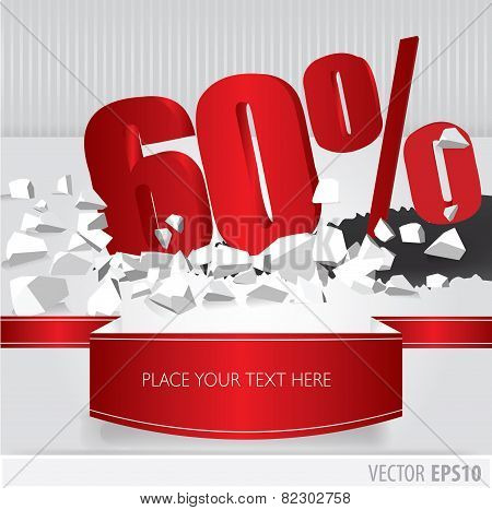 Red 60 Percent Discount On Vector Cracked Ground On White Background