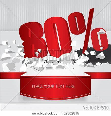 Red 80  Percent Discount On Vector Cracked Ground On White Background