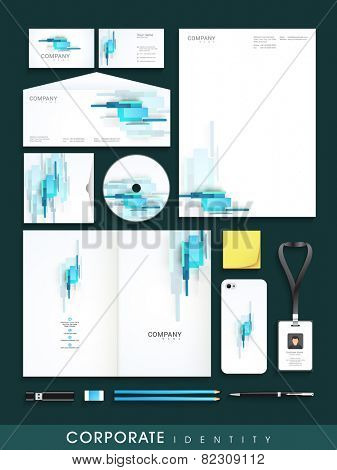 Professional business corporate identity set includes CD Cover, Business Card, Envelope, ID Card, Smart phone and Letterhead.