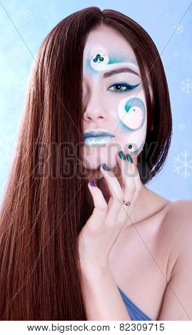 Winter Season Stylized Portrait Of A Young Attractive Woman With A Blue Face Art