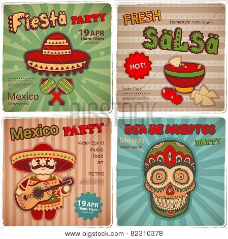 Set of retro banners with Mexican symbols