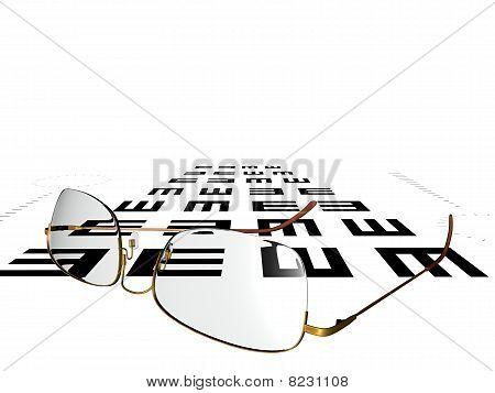 Eyeglasses on eyechart