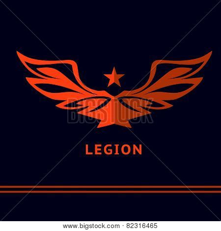 Logo with the image of the wide-open wings and stars. The victory of the battle. Legion