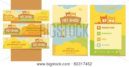 Logo, emblem store for cats and dogs. Cartoon illustration. Editable. A series of banners, flyers fo