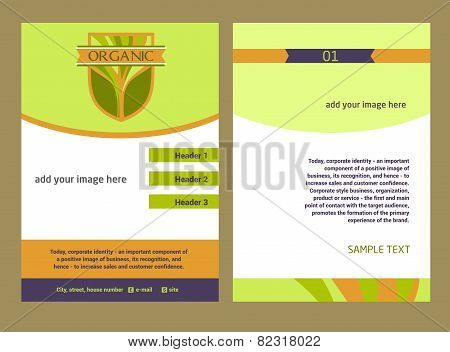 Brochure Flyer design vector template in A4 size. Logo with the image of a tree, eco-friendly produc