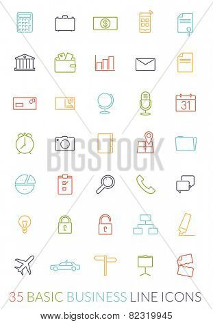 Business Line Icon Vector Set. Collection of 35 basic business colored line icons on white background