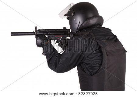 Anti-terrorist Policeman In Black Uniform