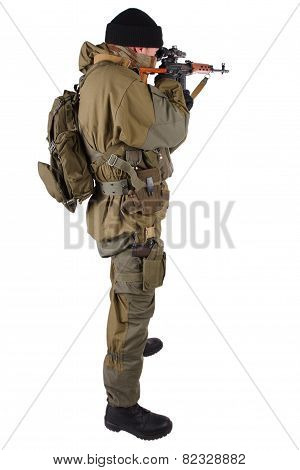 mercenary sniper with SVD rifle isolated on white background poster
