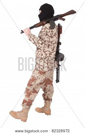mercenary with AK 47 isolated on white background poster