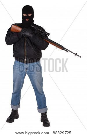 killer with sniper rifle isolated on white background poster