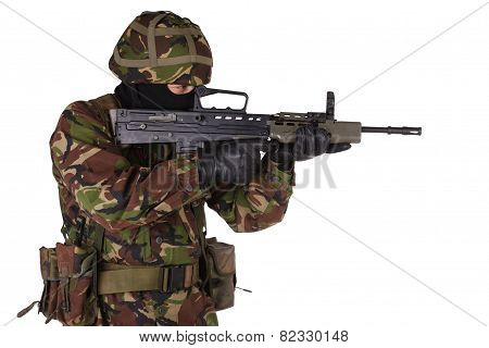 Army Soldier in camouflage uniforms isolated on white poster