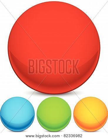Colorful Sphere Elements / Icons. Bright Red, Blue, Green And Yellow Circle Shape Set With Empty Spa